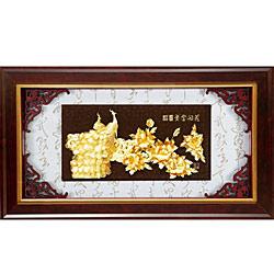 開運陶源 純金*精緻系列* 牡丹孔雀(花開富貴)108x61cm