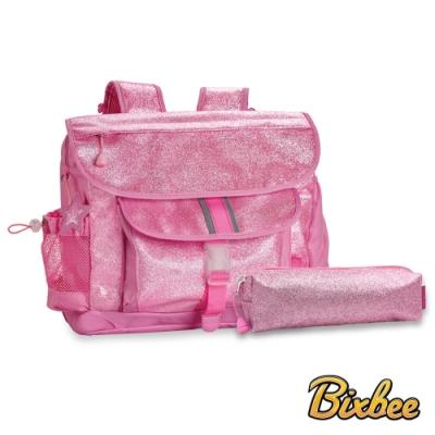 美國Bixbee - 閃采系列甜心粉大童輕量減壓背書包筆袋超值組
