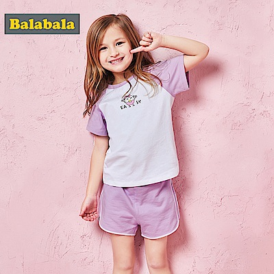 Balabala巴拉巴拉-清爽配色短袖休閒套裝-女(3色)