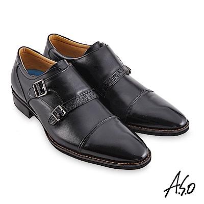A.S.O職場通勤 菁英通勤異材拼接孟克紳士鞋-黑