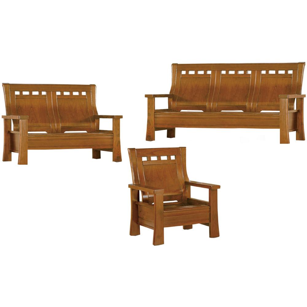 綠活居 瑪尼典雅風實木沙發椅組合(1+2+3人座)