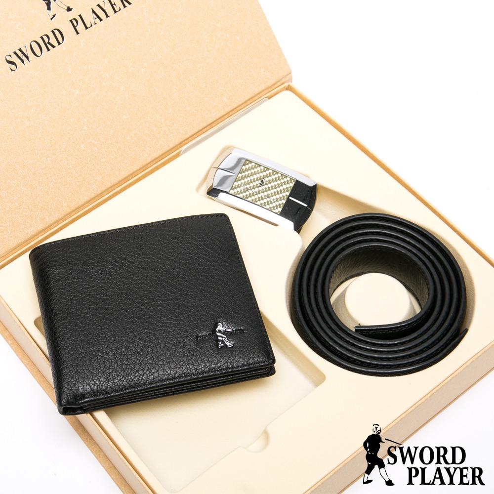 SWORD PLAYER - 莎普爾金編款真皮皮帶+10卡2照皮夾禮盒組