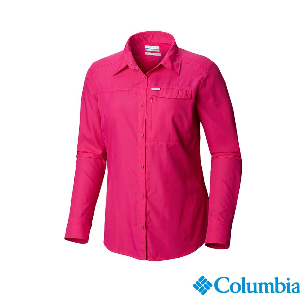 Columbia 哥倫比亞 女款-UPF50快排長袖襯衫-桃紅 UAK26570FC