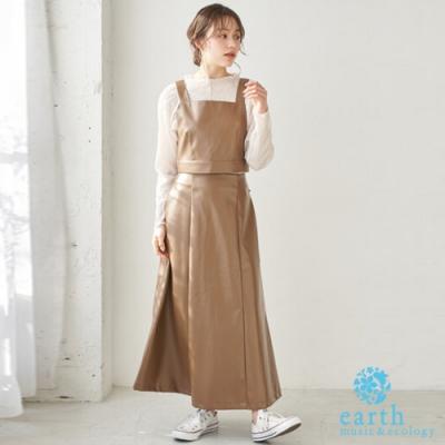 earth music 【SET ITEM】皮革短版蝴蝶結背心+喇叭長裙