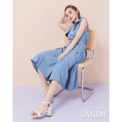 MIIM修身雙排扣風衣款背心長洋裝-霧藍