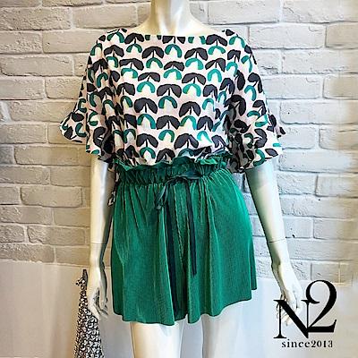短褲 正韓素色特殊涼感布料綁帶鬆緊短褲(綠) N2