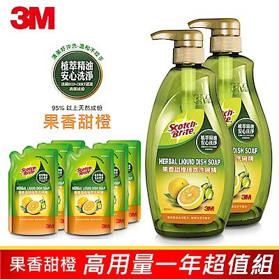 【購買再抽好禮】3M 植萃冷壓果香甜橙精油洗碗精高用量一年超值組 (2瓶+6補)