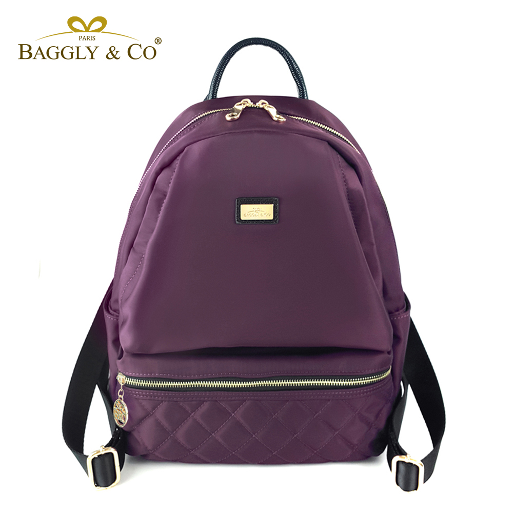【BAGGLY&CO】 質感菱格紋真皮尼龍防盜後背包(三色)