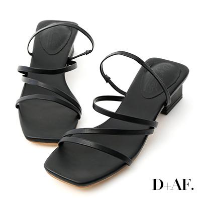D+AF 夏氛時光.多層次細帶低跟涼鞋*黑