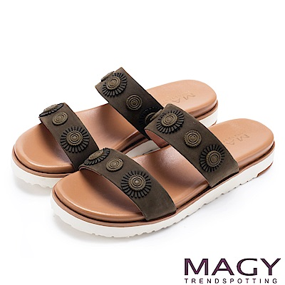 MAGY 異國渡假風 質感牛皮造型裝飾平底拖鞋-綠色