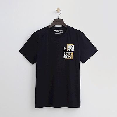 Hang Ten - 男裝 - 有機棉 海灘風景T恤-深藍色