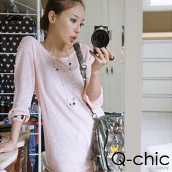 正韓 簡約輕薄粉嫩長版針織衫 (粉色)-Q-chic