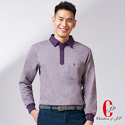 Christian 雙色斜紋長袖保暖休閒衫_紫(PW780-18)