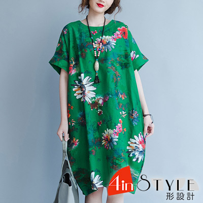 民族風渲染印花寬鬆棉麻洋裝 (綠色)-4inSTYLE形設計