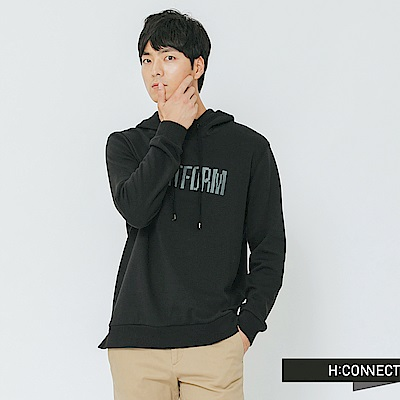 H:CONNECT 韓國品牌 男裝-休閒質感印字帽T-黑