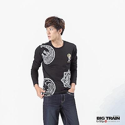 BIG TRAIN 家徽武將魂圓領長袖-男-黑色
