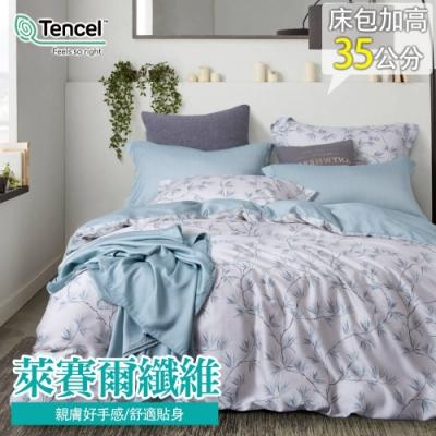 eyah 輕奢60支純天絲台灣製單人床包雙人被套三件組 晴為黛影