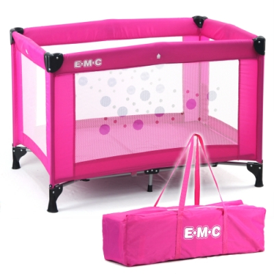 EMC 輕巧型安全嬰兒床(具遊戲功能)(桃紅)