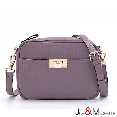 J&M 真皮凱羅爾鎖釦斜背包 優雅紫