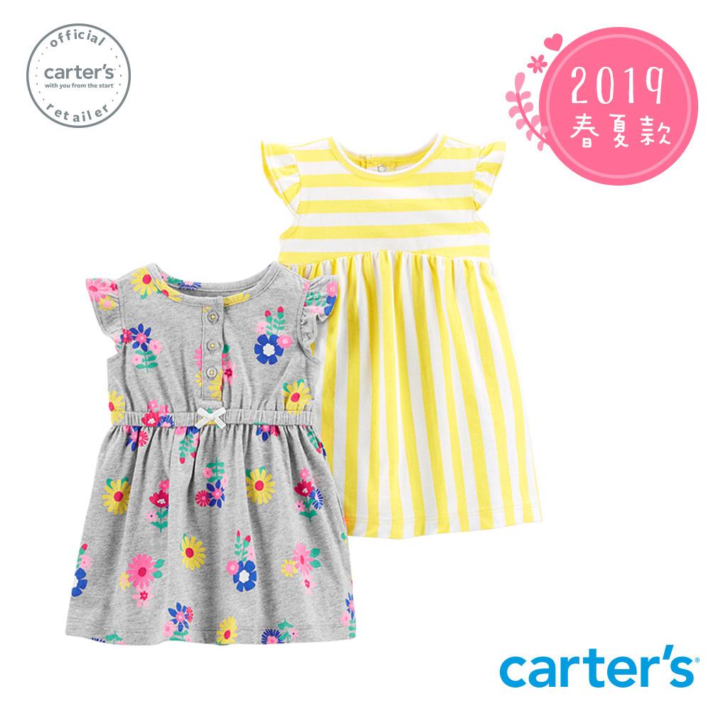 Carter's台灣總代理 荷葉袖小花印圖2件組洋裝