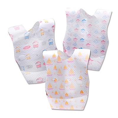 JoyNa 拋棄式圍兜 三層防水一次性口水巾-五包50入