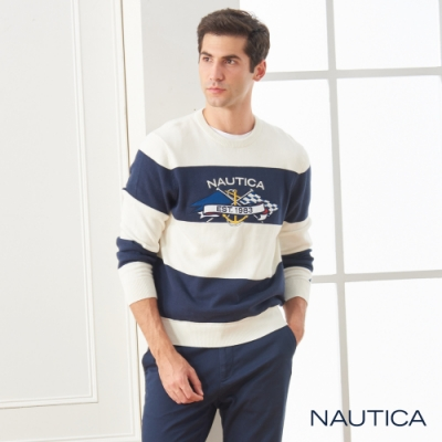 Nautica條紋圖騰長袖針織衫-藍白條紋