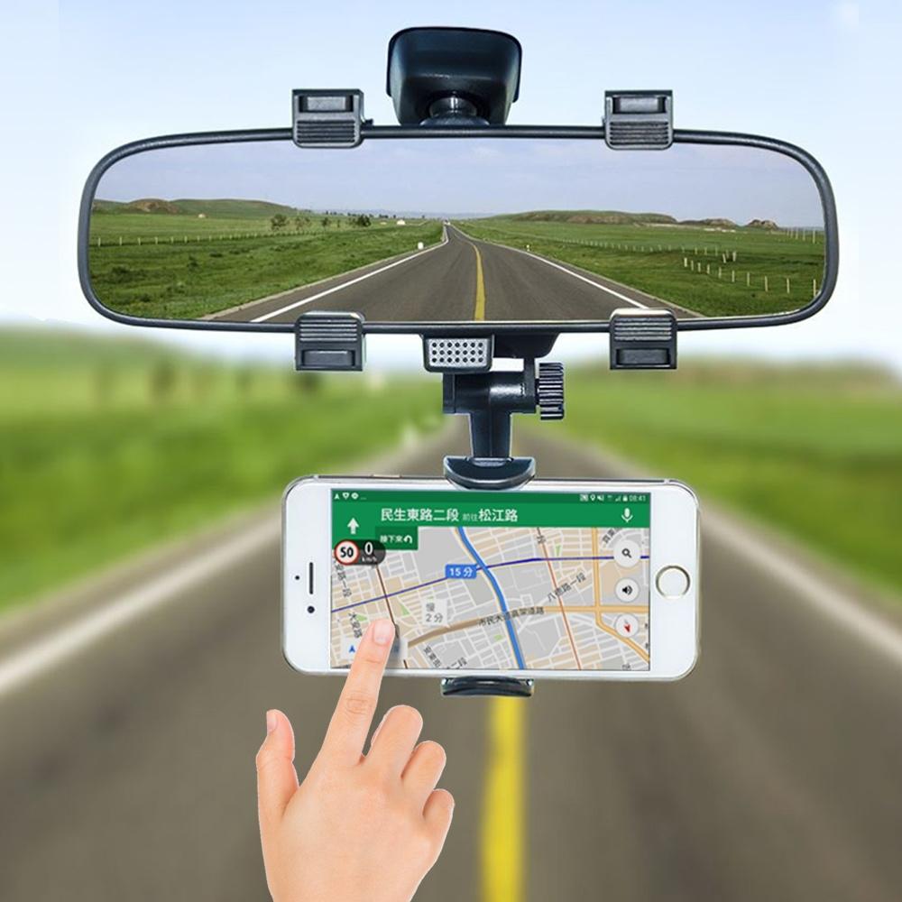 YANGYI揚邑 汽車後視鏡伸縮通用手機支架平視導航支架