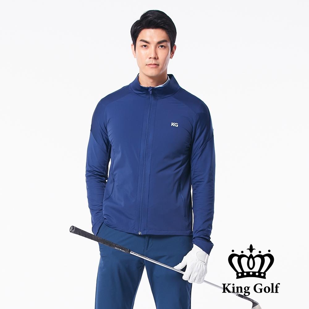 【KING GOLF】KG印圖防風防水拉鍊素面長袖夾克外套-藍色