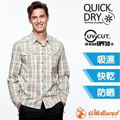 荒野 WildLand 男新款 彈性抗UV格子長袖襯衫.休閒排汗衫_淺橘色