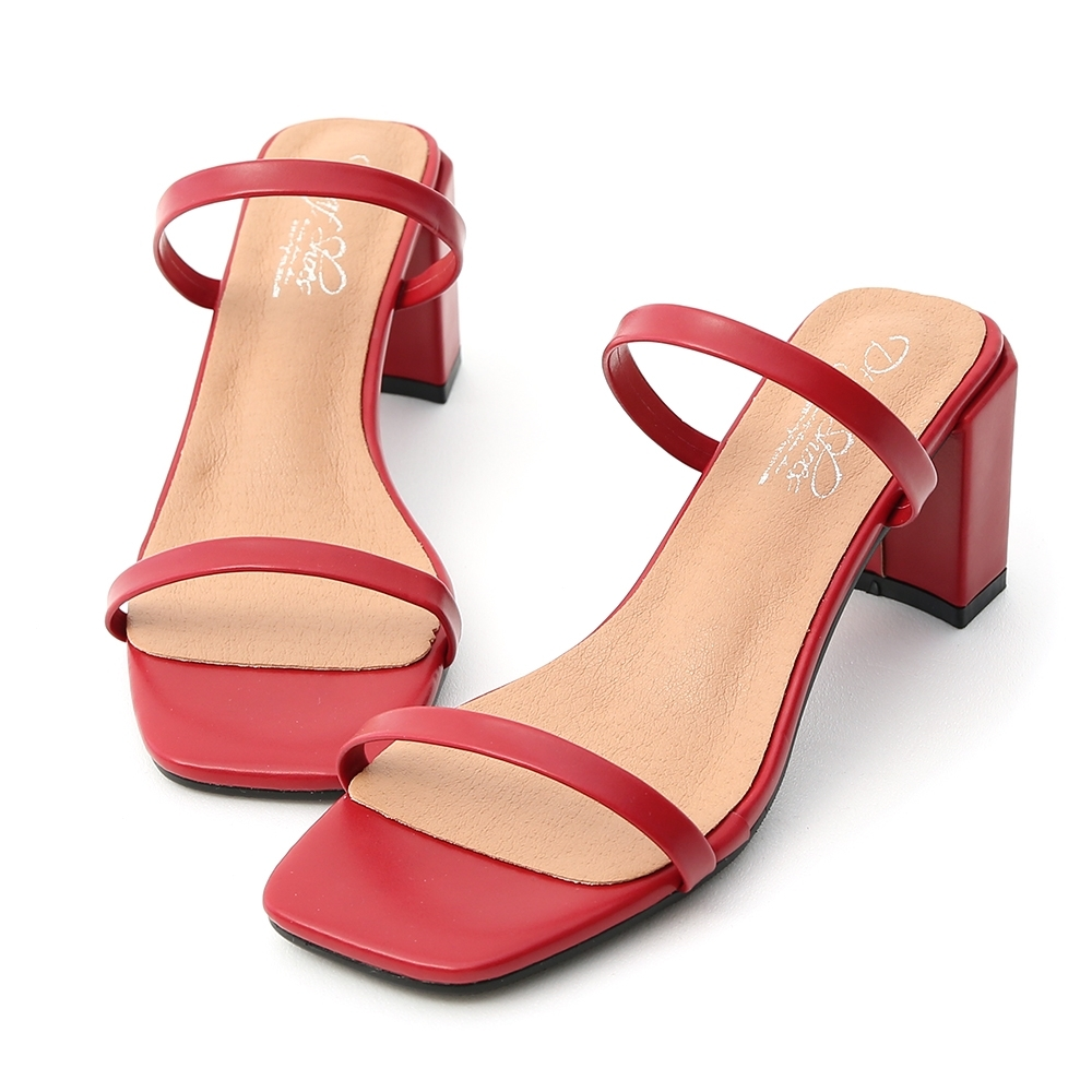 D+AF 時尚美型.一字雙帶方頭高跟涼鞋*紅