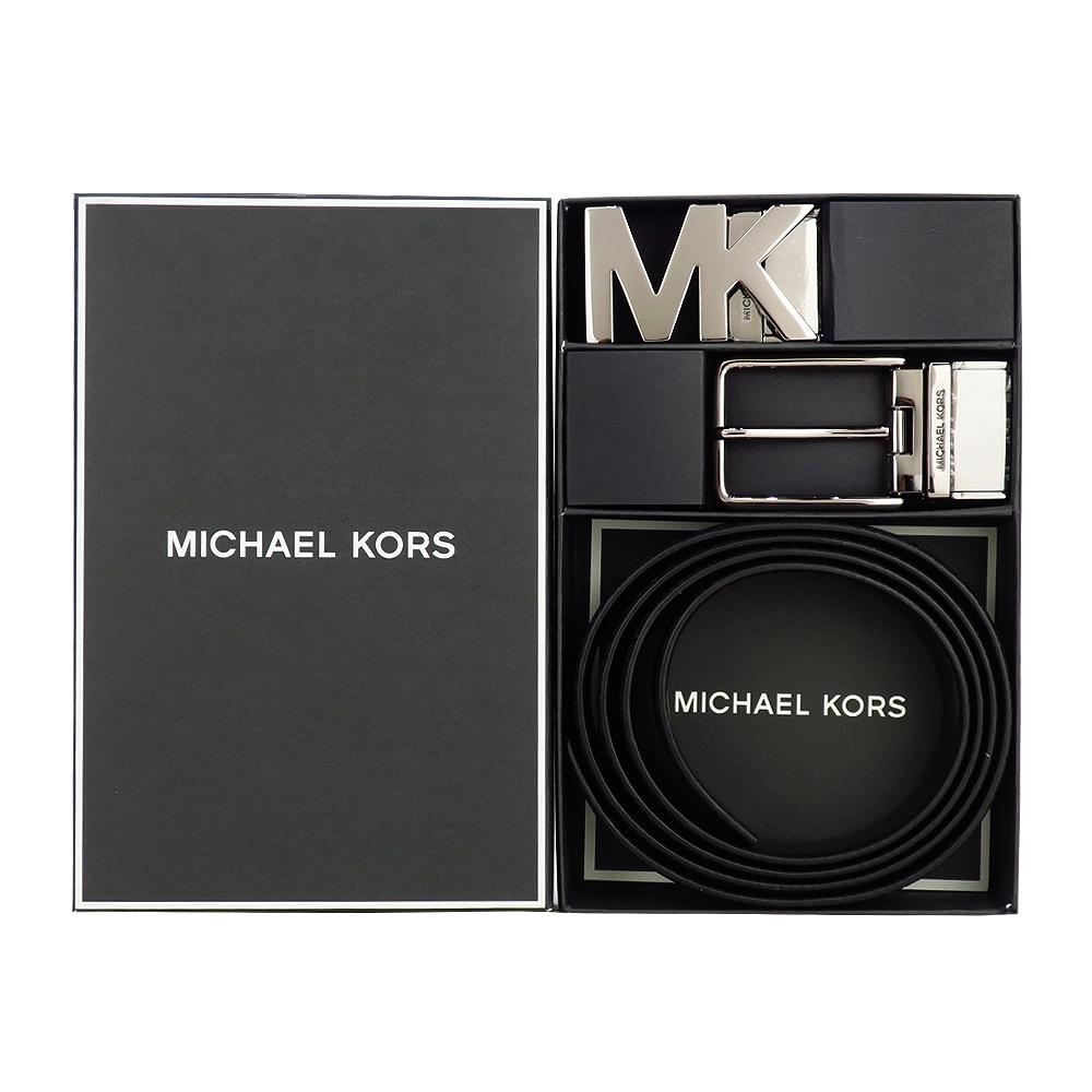 MK MICHAEL KORS MK LOGO/針扣雙頭雙面用皮帶禮盒組-黑
