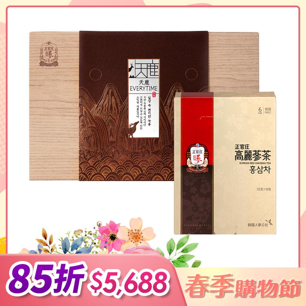【正官庄】天鹿EVERYTIME 30入+正官庄 高麗蔘茶(50包/盒)
