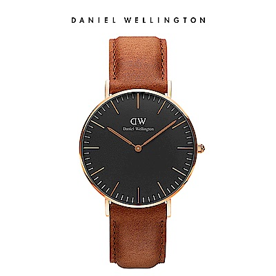 DW 手錶 官方旗艦店 36mm玫瑰金框 Classic Black 淺棕真皮皮革錶