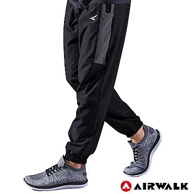 【AIRWALK】男款縮口風衣長褲-黑色