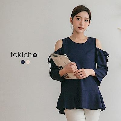 東京著衣 小心機性感露肩長袖上衣-S.M(共二色)