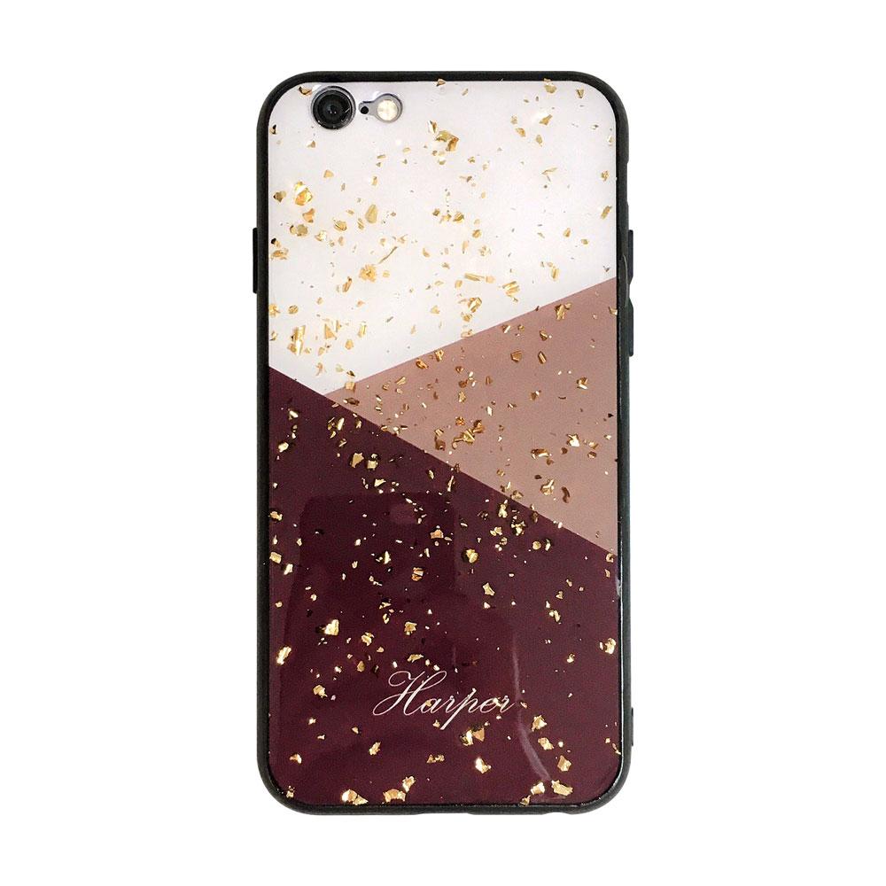 【TOYSELECT】iPhone 7/8 Plus 金箔拼接大理石手機殼:酒紅