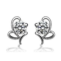 米蘭精品 925純銀耳環-鏤空蝴蝶鑲鑽耳環