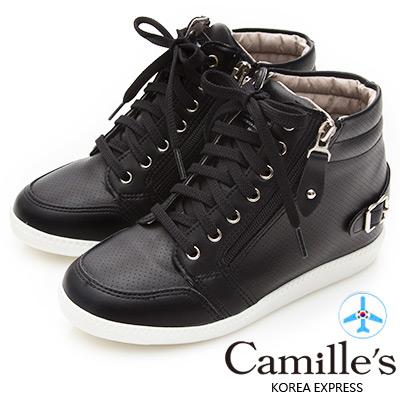 Camille's 韓國空運-洞洞綁帶拉鍊內增高休閒鞋-黑色