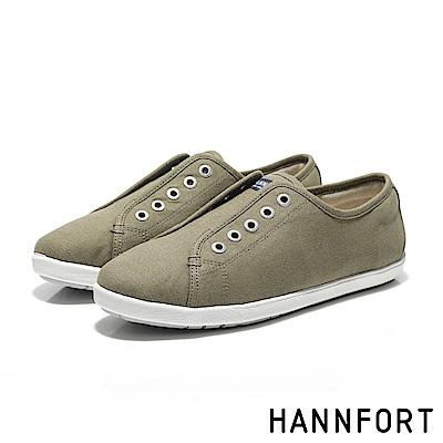 HANNFORT CALIFORNIA無綁帶氣墊帆布鞋-女-原木褐