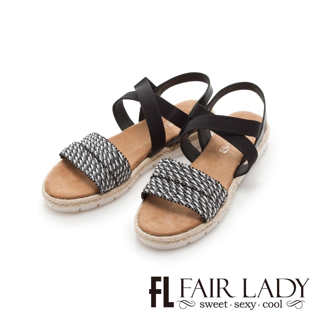 Fair Lady 民族風編織交叉鬆緊草編涼鞋 黑