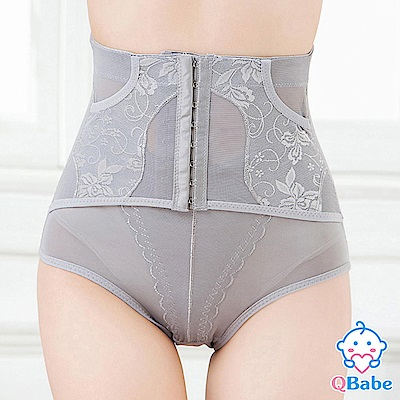 【QBabe】產後收腹提臀網紗美體塑身褲-灰色