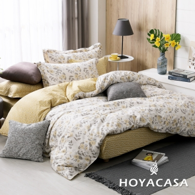 HOYACASA秋日思語 加大四件式純棉兩用被床包組(天絲入棉30%)