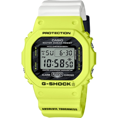 CASIO 卡西歐 G-SHOCK LIGHTING YELLOW SERIES戶外運動計時手錶 DW-5600TGA-9