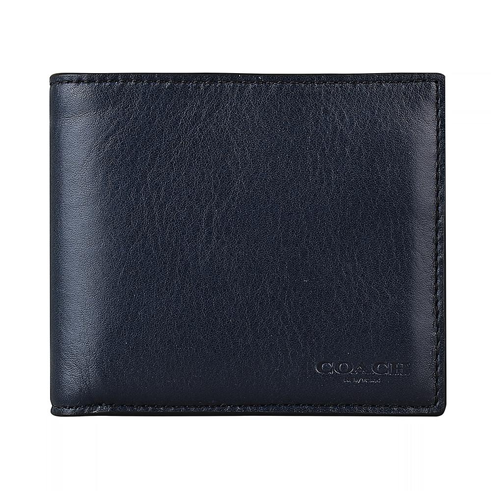 COACH專櫃款經典壓印LOGO滑面牛皮10卡對折短夾(午夜藍)