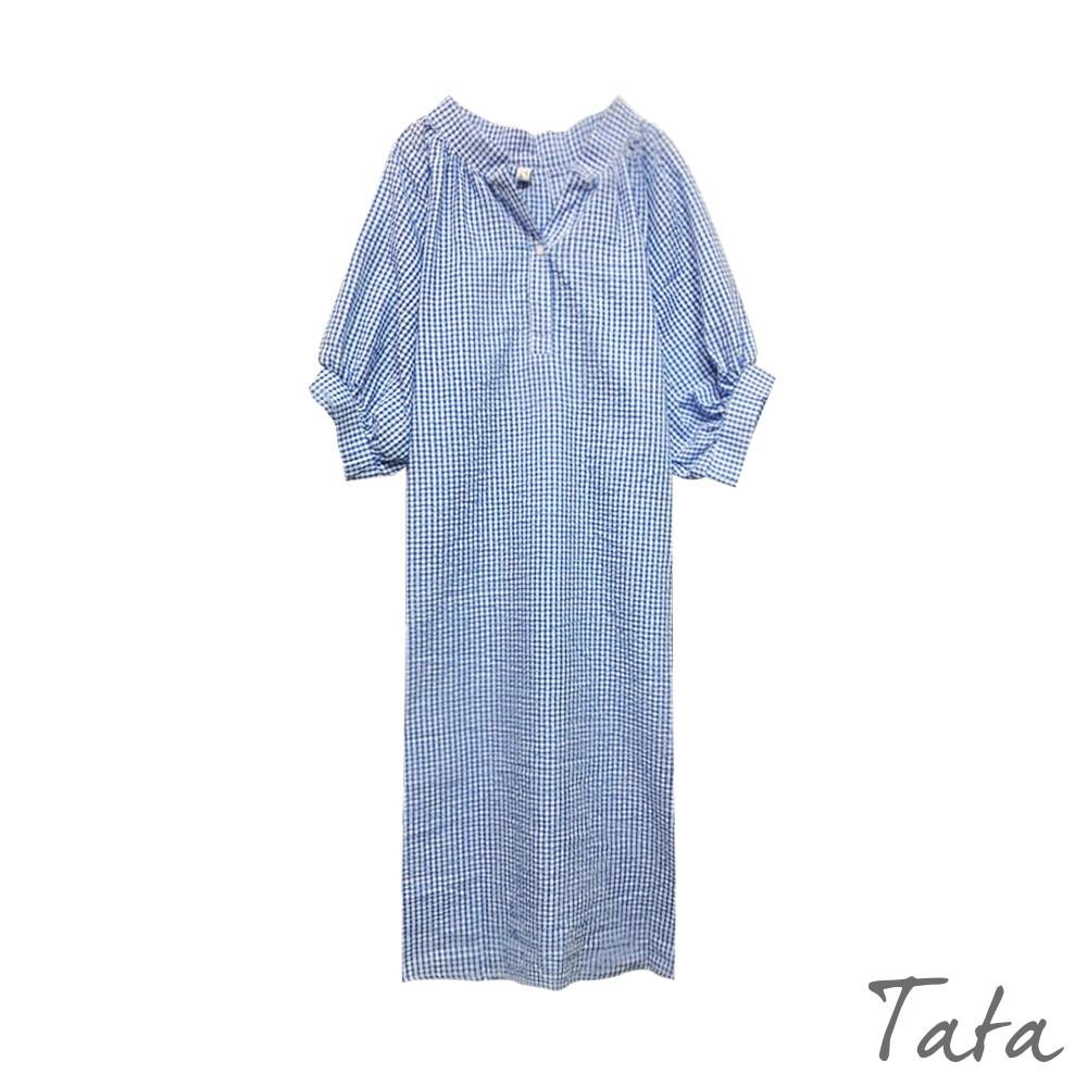 單釦小V領五分泡泡袖格紋洋裝 TATA-F