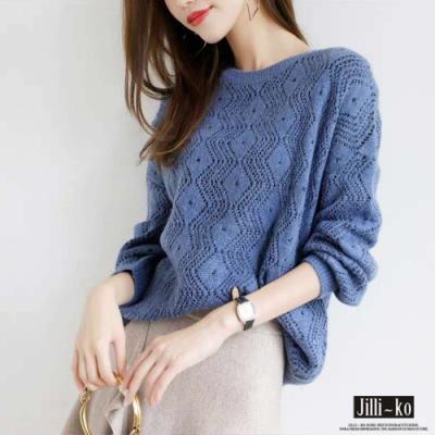 JILLI-KO 清新甜美鏤空寬鬆針織衫- 藍/杏