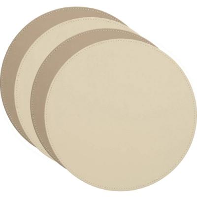 《CreativeTops》圓形雙面餐墊4入(棕白)