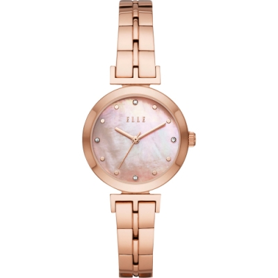 ELLE ODEON 系列優雅小錶徑女錶-珍珠貝x玫塊金/30mm ELL21011