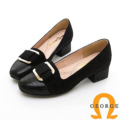 【GEORGE 喬治皮鞋】知性金屬飾扣圓頭真皮中跟鞋-黑色