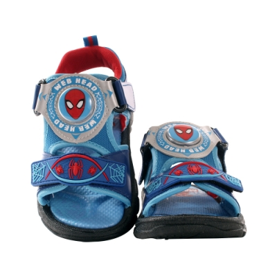 魔法Baby 男童鞋 台灣製蜘蛛人正版閃燈涼鞋 電燈鞋 sa09116